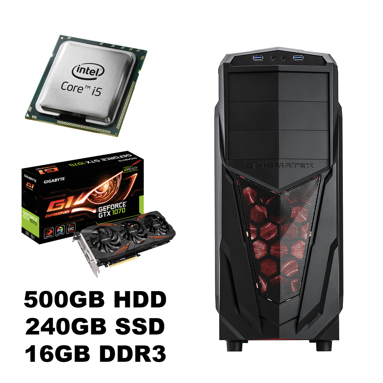 Новый Xigmatek Tower / Intel Core i5-4570 (4 (4) ядра по 3.20-3.60 GHz) / 500GB HDD + Новый 240GB SSD / 16GB DDR3/ USB 3.0, Новый БП 600W Chieftec/