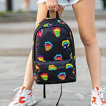 Крутий жіночий рюкзак з принтом Губи. Для навчання, подорожей, тренувань, фото 3