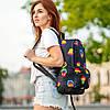 Крутий жіночий рюкзак з принтом Губи. Для навчання, подорожей, тренувань, фото 4