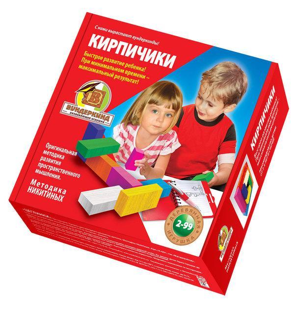 Методика Никитиных Кирпичики цветные деревянные 8 штук Вундеркинд