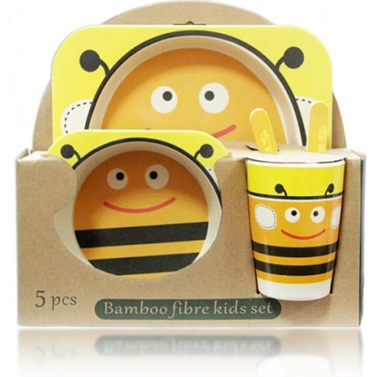 """Набор посуды из бамбука """"Пчелка"""" 5 предметов"""
