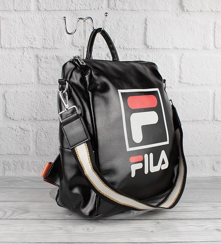 Рюкзак-сумка кожзам черный Fila 51078