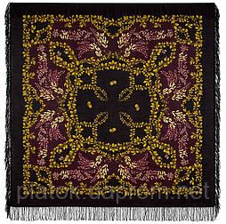 Рябина 352-20, павлопосадский платок шерстяной  с шерстяной бахромой