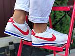 Жіночі кросівки Nike Cortez (біло-червоні з синім) 9797, фото 3