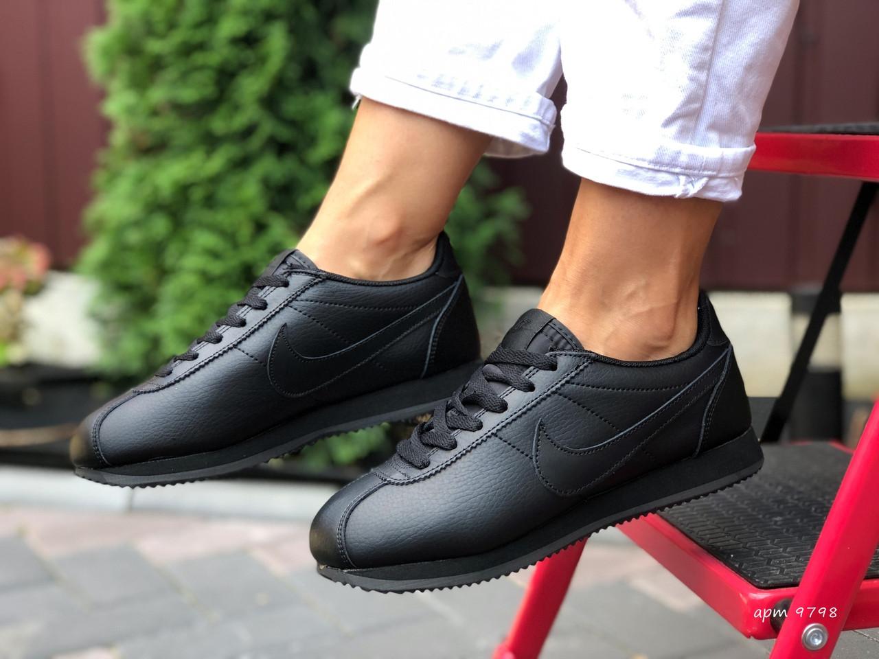 Женские кроссовки Nike Cortez (черные) 9798