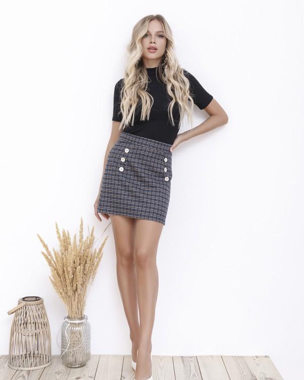 Принтованная мини юбка с пуговицами