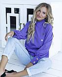 Фиолетовая блуза с вставкой и рюшами, фото 4