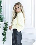 Желтая блуза с вставкой и рюшами, фото 2