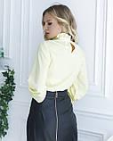 Желтая блуза с вставкой и рюшами, фото 3