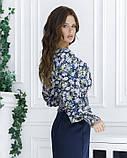 Цветочная укороченная блуза из штапеля, фото 2