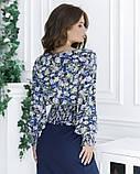 Цветочная укороченная блуза из штапеля, фото 3