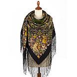 Майя 372-22, павлопосадский платок (шаль) из уплотненной шерсти с шелковой вязаной бахромой, фото 3
