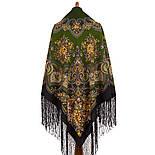 Майя 372-22, павлопосадский платок (шаль) из уплотненной шерсти с шелковой вязаной бахромой, фото 2