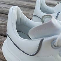 Белые Кроссовки Alexander Mcqueen светооотражатель демисезон деми на толстой подошве эко кожаные, фото 2