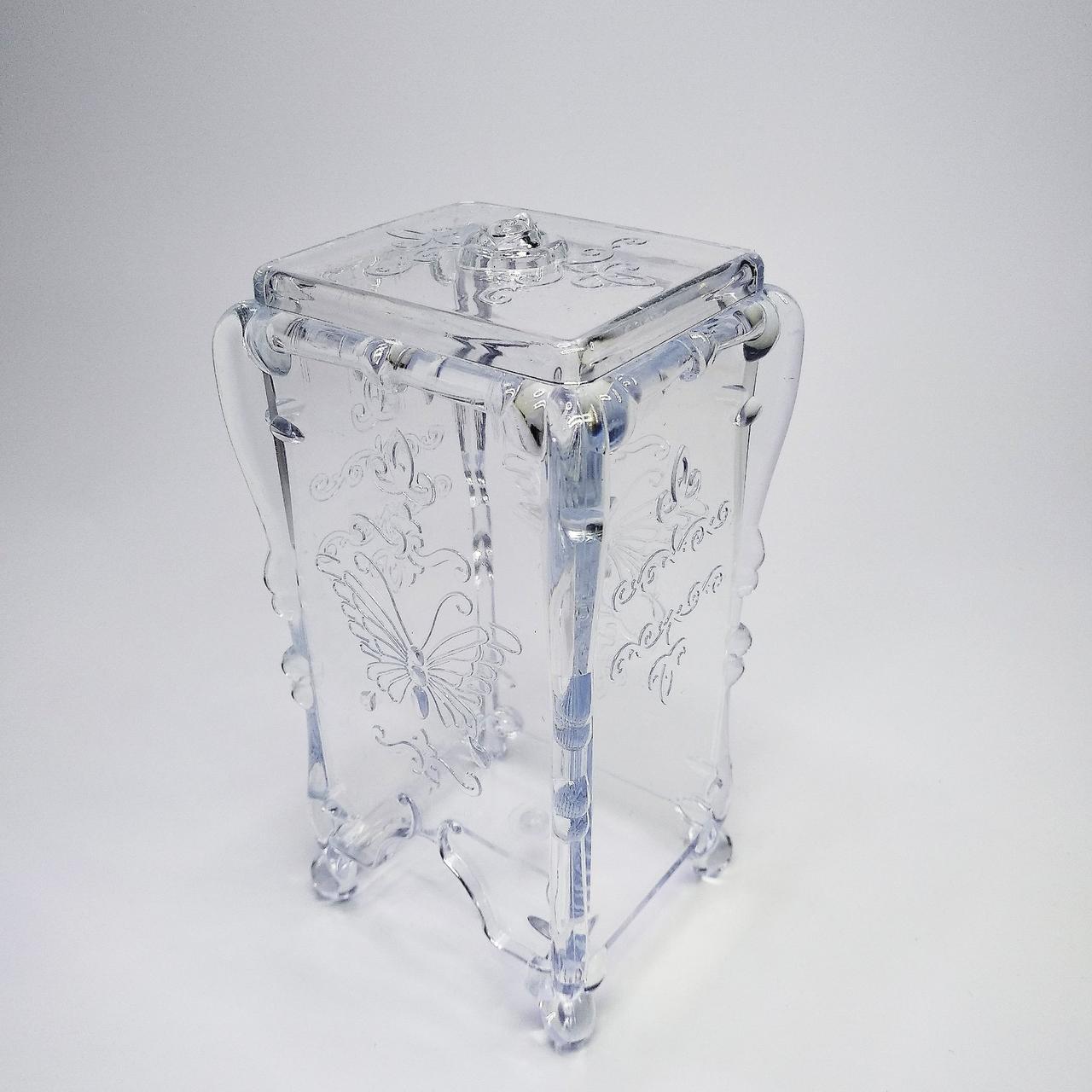 Подставка для салфеток и спонжиков, прозрачная с узором