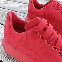 Червоні Кросівки Alexander Mcqueen на товстій підошві демисезон демі на товстій підошві замша еко, фото 3