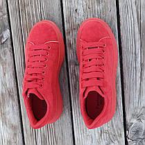 Червоні Кросівки Alexander Mcqueen на товстій підошві демисезон демі на товстій підошві замша еко, фото 2