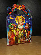 Упаковка праздничная новогодняя из картона Святой Николай на вес до 700г, оптом