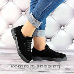 Женские замшевые кроссовки на шнуровке , черные  V 1283