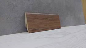 Плинтус МДФ для пола под дерево Дуб Родос темный 19*52*2800мм., темно-коричневый