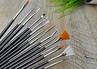 Набор кистей для рисования и дизайна ногтей 15 шт