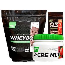 Комплект для набора массы: 2 кг Whey Протеин Poland, 80%  альпийский шоколад + Креатин + Омега-3  в Подарок!