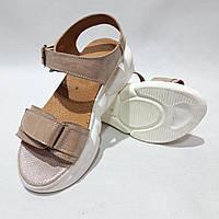 Босоножки женские, сандали летние кожаные р. 36 Пудровые последняя пара