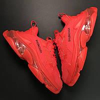 Женская обувь Balenciaga Triple S Clear Sole Red / Кроссовки Баленсиага Трипл С красные