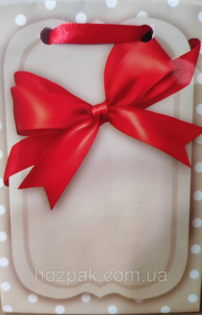 Пакет подарочный бумажный крафт мини 8х13х4