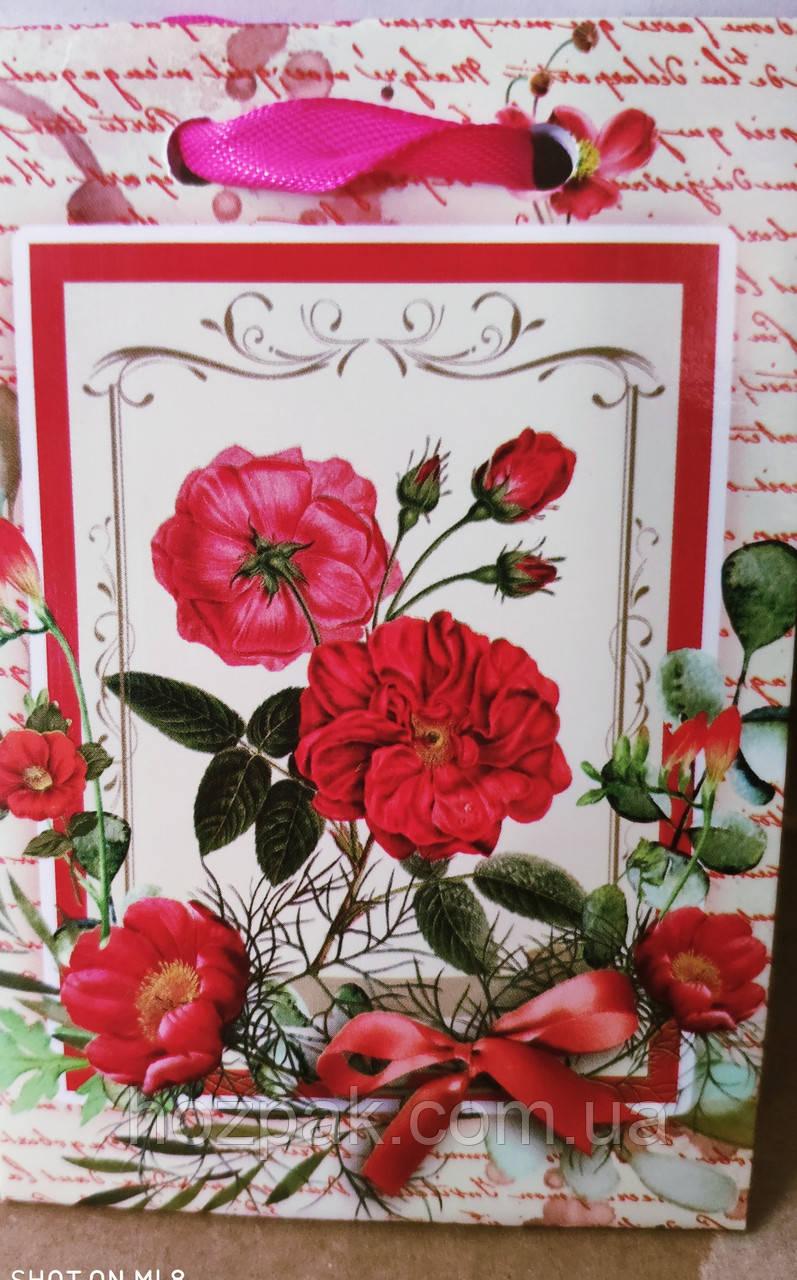 Пакет подарунковий паперовий крафт міні 8х13х4