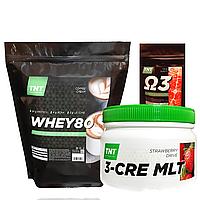 Комплект для набора массы: 2 кг Whey Протеин Poland, 80% coffi + Креатин + Кардиопротектор в Подарок!
