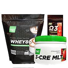 Комплект для набора массы: 2 кг Whey Протеин Poland,80% coffi + Креатин + Кардиопротектор  в Подарок!