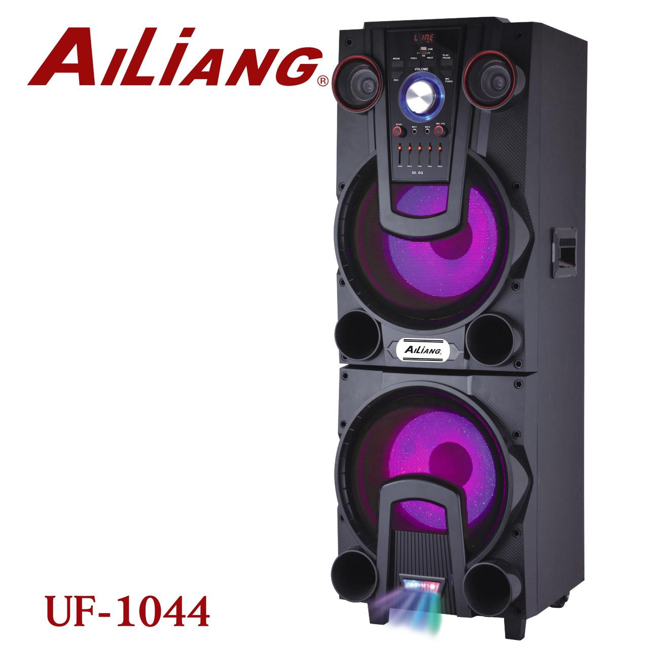 Колонка блютуз акумуляторна два динаміки з підсвічуванням і 2 мікрофонами AILIANG UF-1044