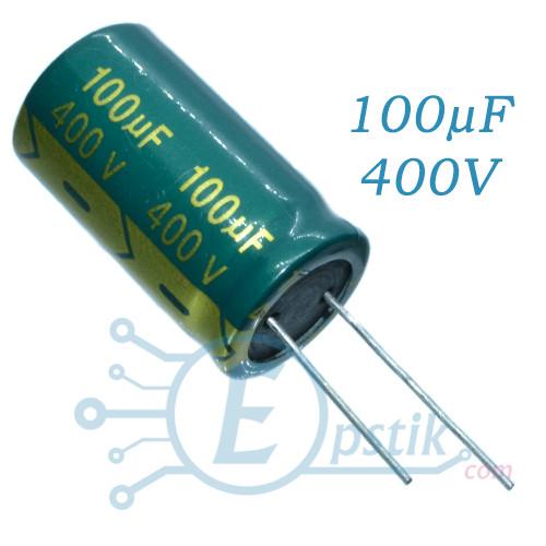 Конденсатор 100uF 400V, (18*30) 105°C, Long life