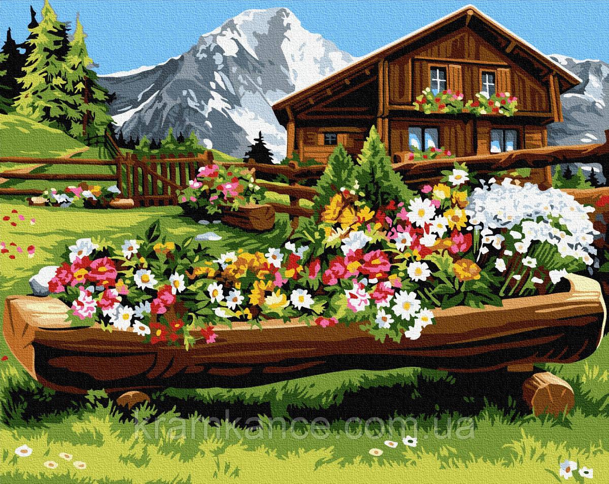 """Картина по номерам """"Квітуча місцина в горах"""" GX32156,"""