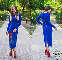 """Длинное платье с модным принтом """"Роза"""" 3 цвета"""