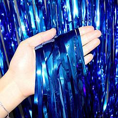 Шторка-завіса з фольги для фото зон синя 2х1