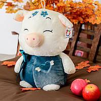 Хрюшка Соня BONDIK Свинка мягкая игрушка 50 см Белая с синим