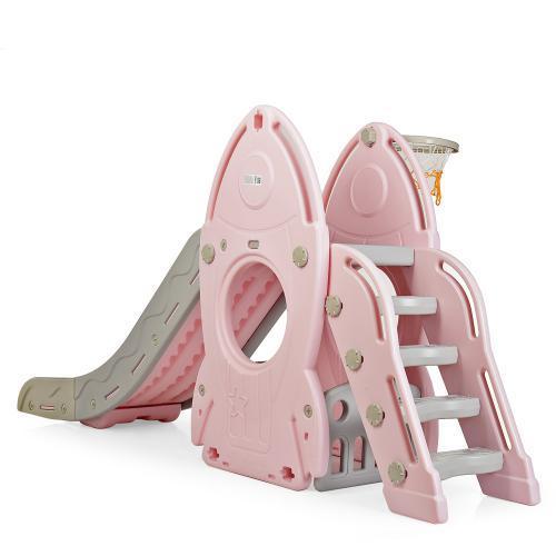 Горка игровая для детской площадки с баскетбольным кольцом, 80*225*106 см, L-HJ01-8
