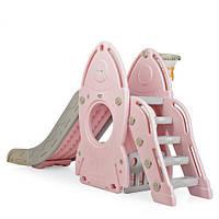 Гірка ігрова для дитячого майданчика з баскетбольним кільцем, 80*225*106 см, L-HJ01-8