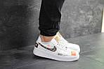 Чоловічі кросівки Nike Air Force 1 Just Do It (біло-чорні) 9812, фото 2