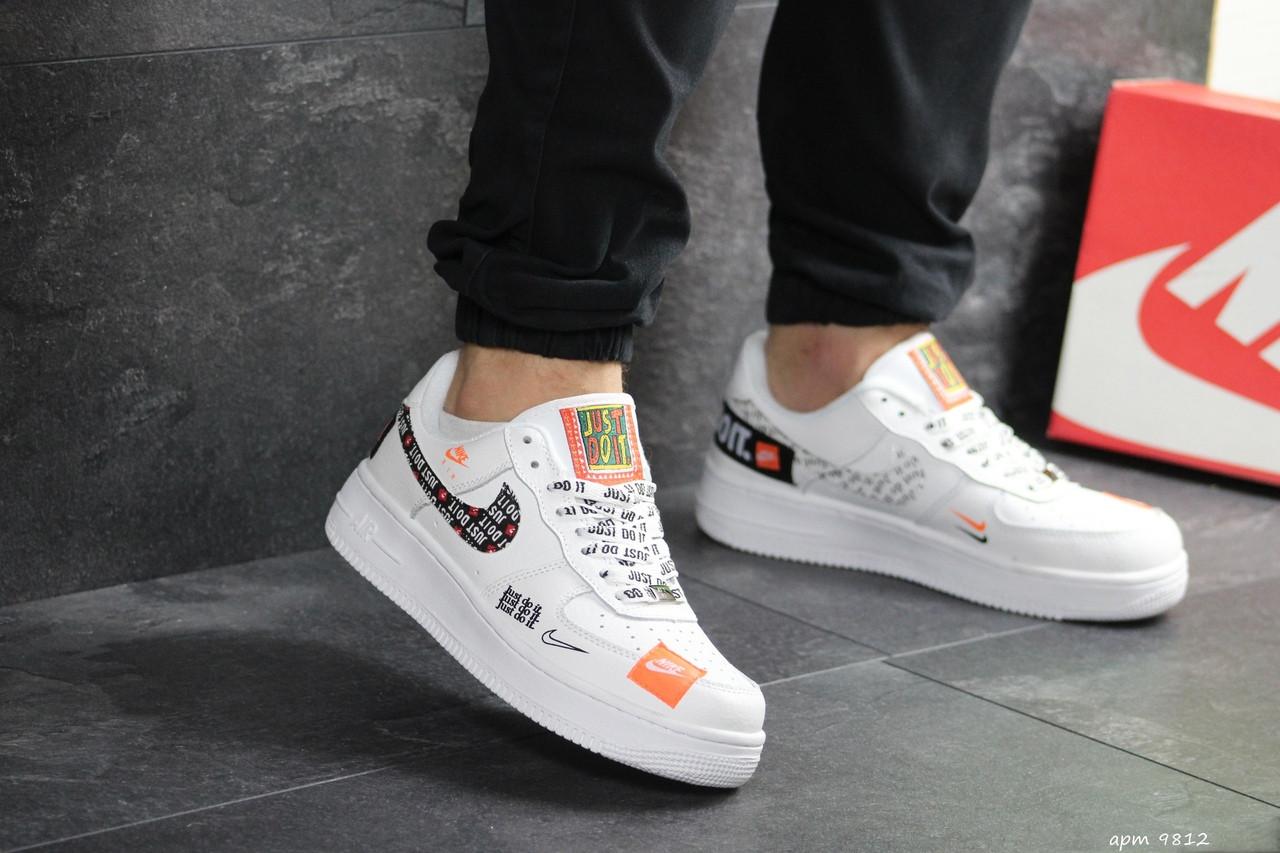 Чоловічі кросівки Nike Air Force 1 Just Do It (біло-чорні) 9812