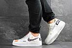 Чоловічі кросівки Nike Air Force 1 Just Do It (біло-чорні) 9812, фото 3