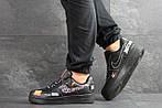 Чоловічі кросівки Nike Air Force 1 Just Do It (чорні) 9814, фото 3