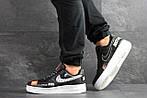 Мужские кроссовки Nike Air Force 1 Just Do It (черно-белые) 9815, фото 3