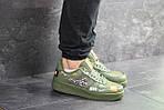 Чоловічі кросівки Nike Air Force 1 Just Do It (темно-зелені) 9816, фото 2