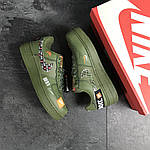 Чоловічі кросівки Nike Air Force 1 Just Do It (темно-зелені) 9816, фото 4