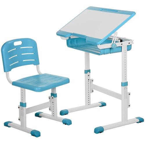 Парта школьная Bamdi регулируемая со стулом синяя