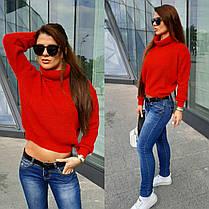 Женский теплый вязаный укороченный свитер под горло, фото 2