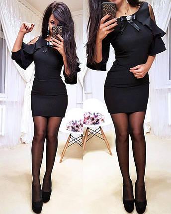 Платье мини обтягивающее с открытыми плечами и воланами, фото 2